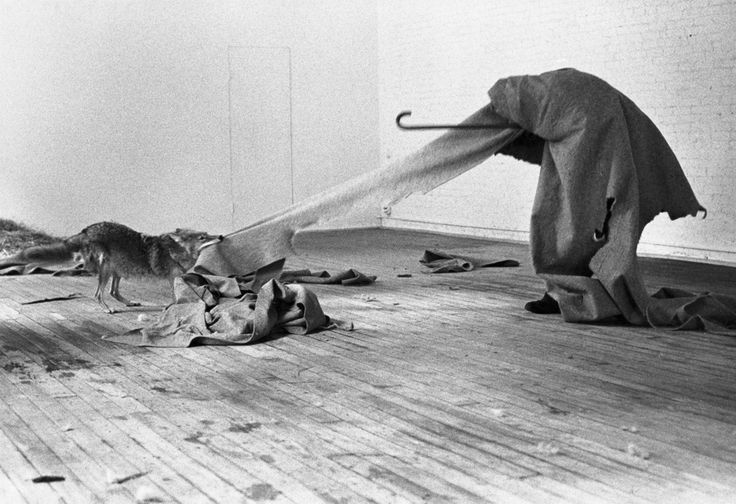 This photograph by Caroline Tisdall is from Joseph Beuys: Coyote, a 1976 book recently published in a new edition by Shirmer/Mosel. The book documents Joseph Beuys' 1974 performance art piece, Coyote: I Like America and America Likes Me, in which the artist spent three days and nights caged with a wild coyote in René Block's New York Gallery.