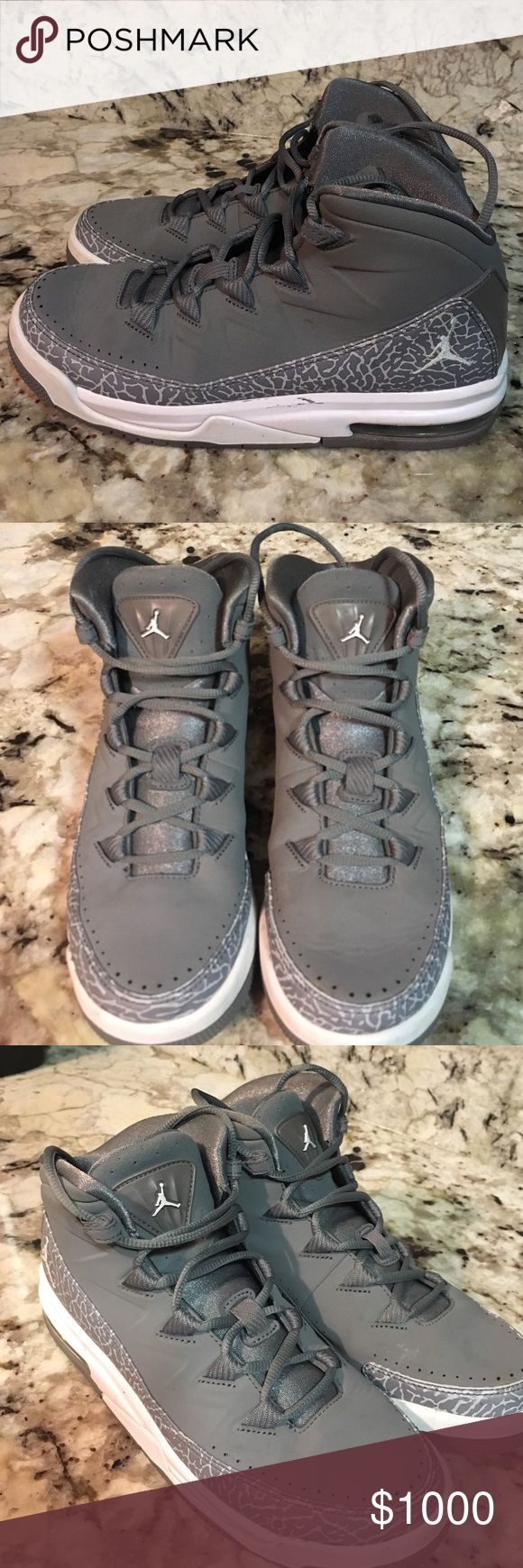 Jordan's MAKE OFFER Super cute, pretty good condition, have been warned though, there are creases but not that does the ball, there are some dirt stains on the white bottom part not that noticeable either but they are used. Super cute and great addition to any closet. Amazing for sports and are very comfortable! ‼️Ignore listing price make me an offer or I will trade.‼️ size 7Y = women's 8, run just a little bit big so I would say fit 8.5 perfectly. 💕 have air max so have a lot of support…