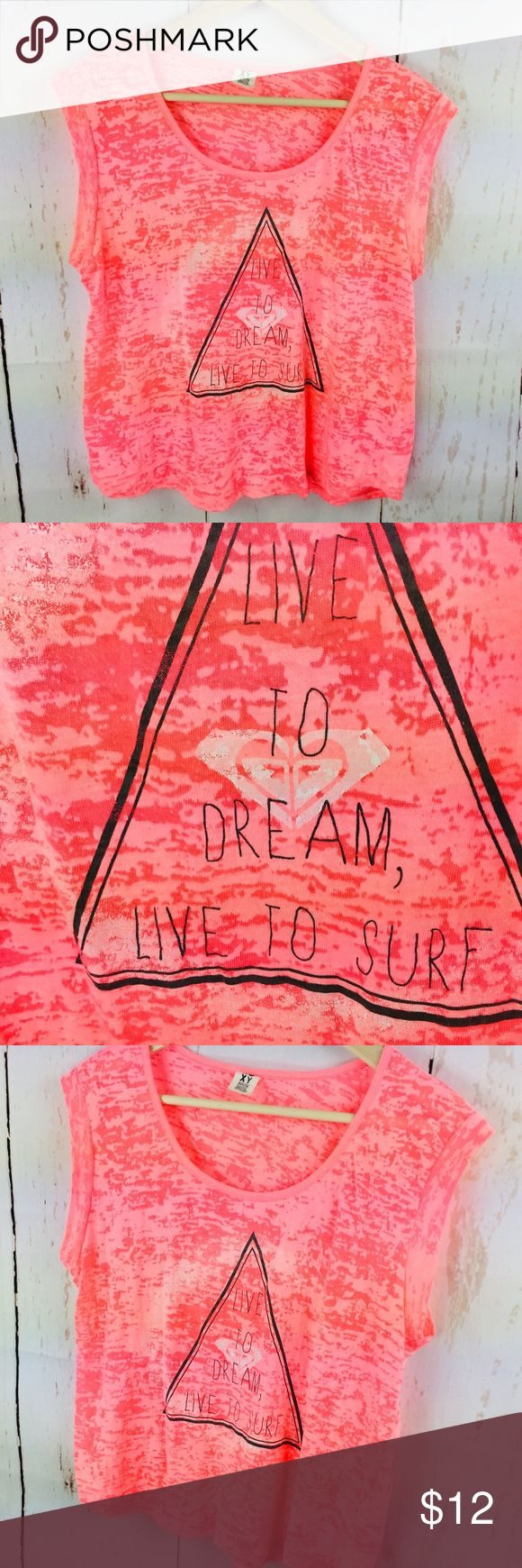 """ROXY Live to Dream Live to Surf Top ROXY Size Medium Tee  Live to Dream Live to Surf Pink  Measurements Laying Flat (approximate) Bust: 20"""" Length: 22  60% Cotton, 40% Polyester  Gently used with no flaws found  U-3 Roxy Tops Tees - Short Sleeve"""
