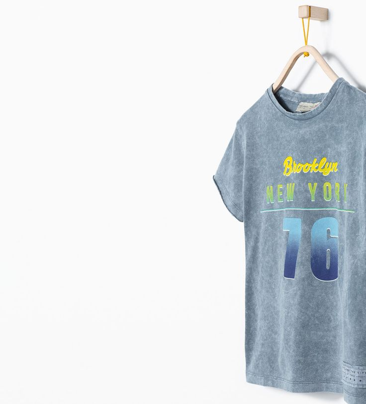"Image 1 of ""Brooklyn"" print sporty t-shirt from Zara"
