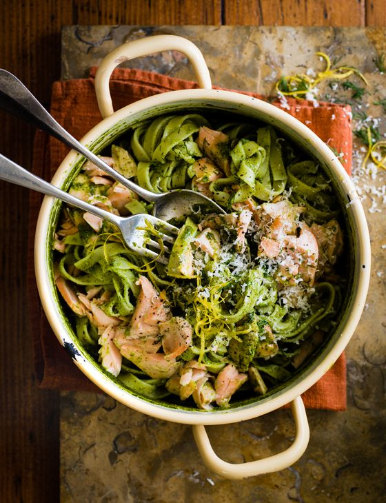 Salmon and watercress chilli pesto pasta - Lovely with a salad dressed with hazelnut oil and lemon juice