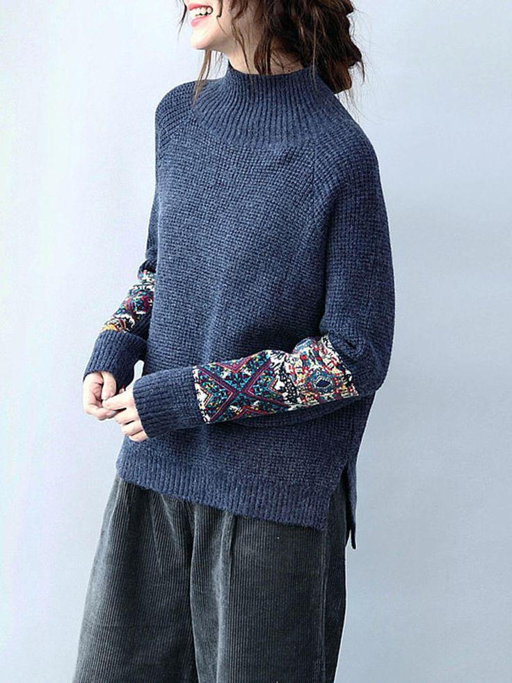 Women Long Sleeve Turtleneck Tribal Printed Patchwork Knitted Sweater at Banggood