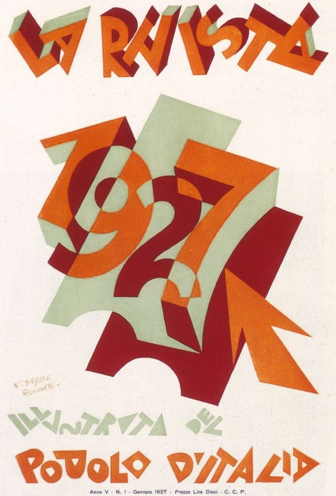 "La Rivista illustrata del Popolo d'Italia (the illustrated magazine for the Italian people), Italian Fascist magazine. Jan. 1927. Artist: Fortunato Depero (1892-1960). A periodical supplement to the daily newspaper ""Il Popolo d'Italia"", founded by Benito Mussolini in 1914 (and shut down on July 26, 1943, the day after the end of the Fascist regime)."