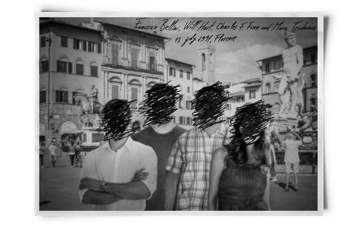 The photo of four young people who met in Florence, 1991 - from the book Constant Guests by Patricia Nedelea. #photo #Florence #book #constantguests #patricianedelea