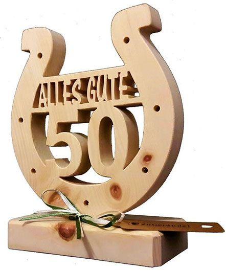 Geschenkidee zum Geburtstag, Geburtstagsgeschenk mit Jahreszahl, Hufeisen aus Zirbenholz