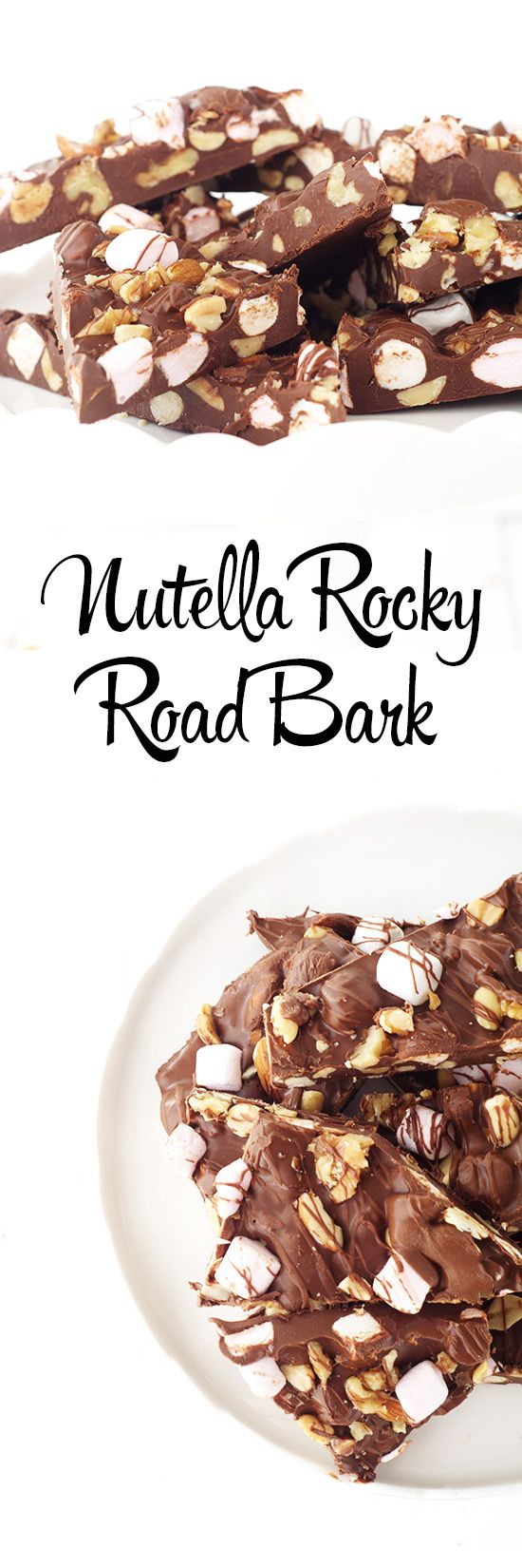 Nutella rocky road bark is the perfect snack or dessert. Melt chocolate and mix in Nutella and stir until combined completely. Add nuts and marshmallows to the mixture. Pour onto a parchment paper lin