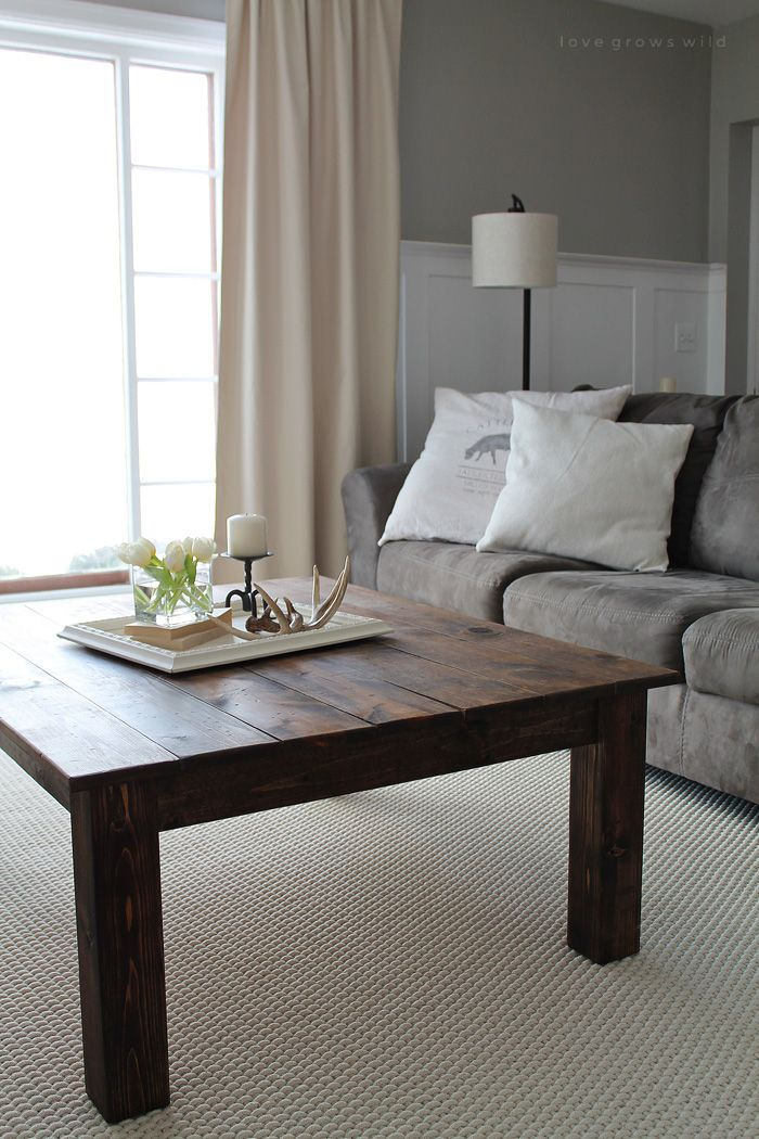 DIY Farmhouse Coffee Table - Learn how to build this rustic wood farmhouse coffee table at LoveGrowsWild.com! Click for photos, supply list, and tutorial!