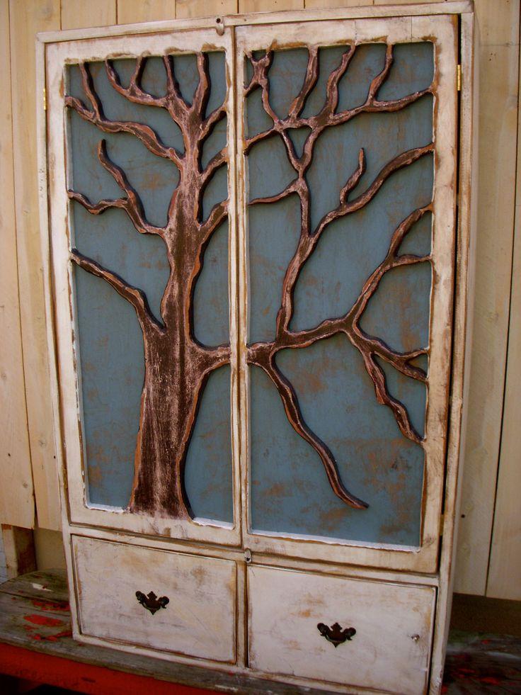 Rustic Furniture Shelf Oak Tree Cabinet Artistic Storage Shelves