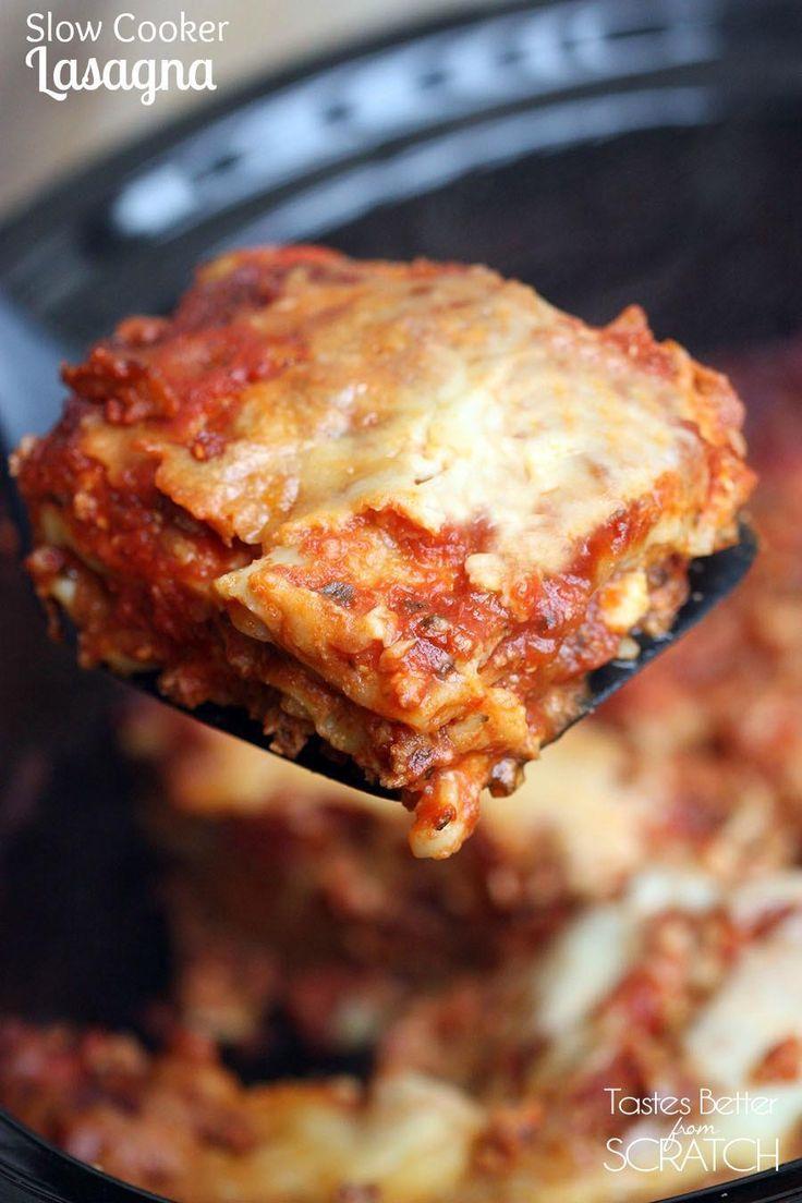 Slow Cooker Lasagna recipe from TastesBetterFromScratch.com