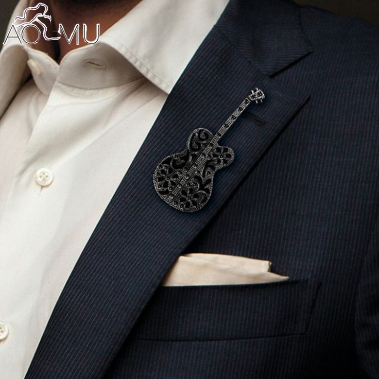 AOMU Guitar Brooch Musical Instrument Brooches Concert Jewelry Denim Jacket Pin Buckle Shirt Suit Badge Fashion Jewelry Gift  #Affiliate