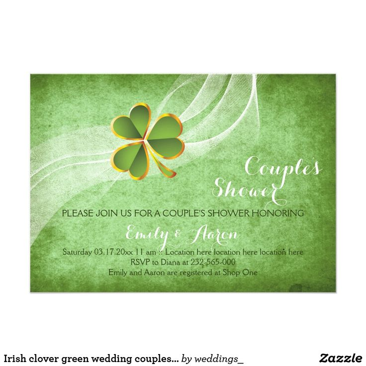 Irish clover green wedding couples shower card Irish clover and veil green wedding couple's shower invitation featuring a green shamrock leaf with gold outline on a white waved veil on green grunge stained background. This modern wedding invitation design is part of a wedding set or wedding collection and is a fully customizable template perfect for an Irish St. Patrick's Day wedding. Fun wedding invites. Customize your invitation. #invitations #invites #weddings