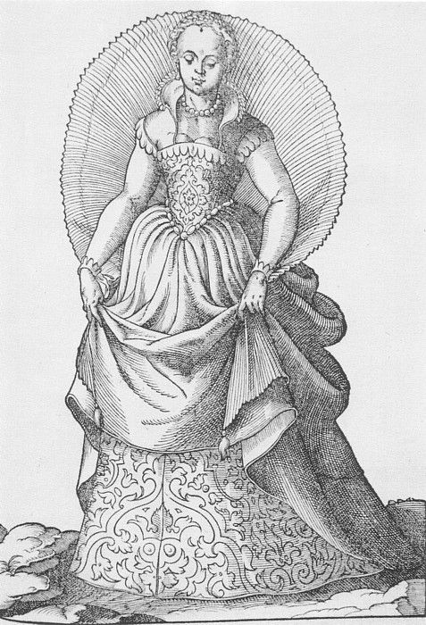 love the styling on this, collar specificaly, but how in the world did they get the shawl/cloak to stand up like that?      Woodcut of a Ventian Lady from the Omnium Poene Gentium Imagines by Abraham de Bruyn, 1577. (Private Collection)