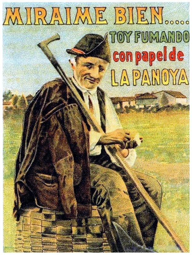 Cartel publicitario papel de fumar. Almacenes La Panoya. Oviedo. circa 1950