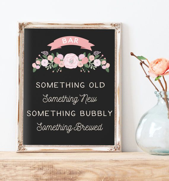 This rustic wedding bar table sign reads Something Old, Something New, Something Bubbly, Something Brewed and features a chalkboard color