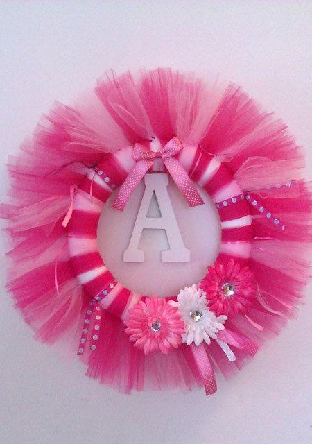 Personalized Baby Tutu Wreath - Tulle Wreath - Birthday, Baby Shower, Photo Prop - Girls. $28,00, via Etsy.