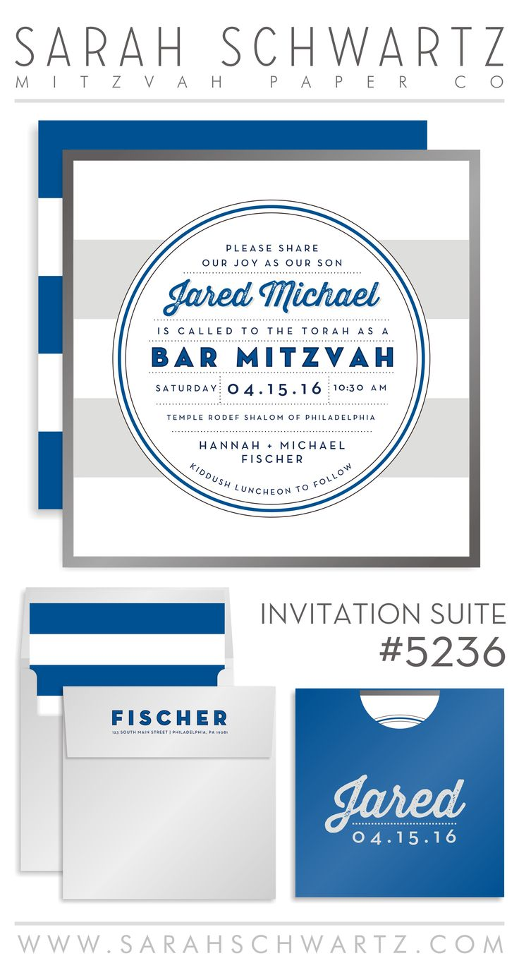 Royal, navy and gray Bar Mitzvah Invitation Suite with classic, preppy stripes.