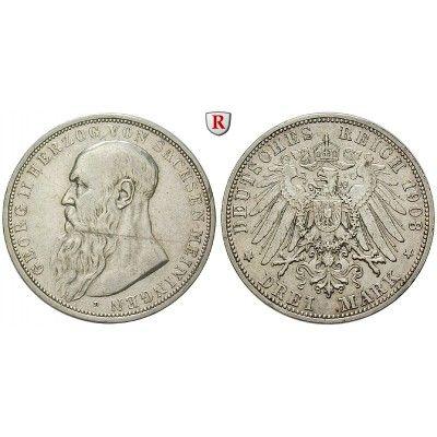 Deutsches Kaiserreich, Sachsen-Meiningen, Georg II., 3 Mark 1908, D, ss+, J. 152: Georg II. 1866-1914. 3 Mark 1908 D. J. 152; sehr… #coins