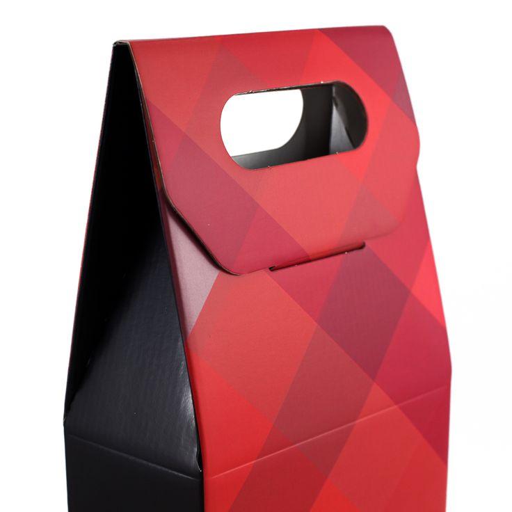 Caja de 2 botellas con asa - Red Diamonds.  Caja para dos botellas con asa para facilitar su transporte. Válida para botellas de vino, aceite o licor. La tapa cierra con una pestaña para mayor seguridad.