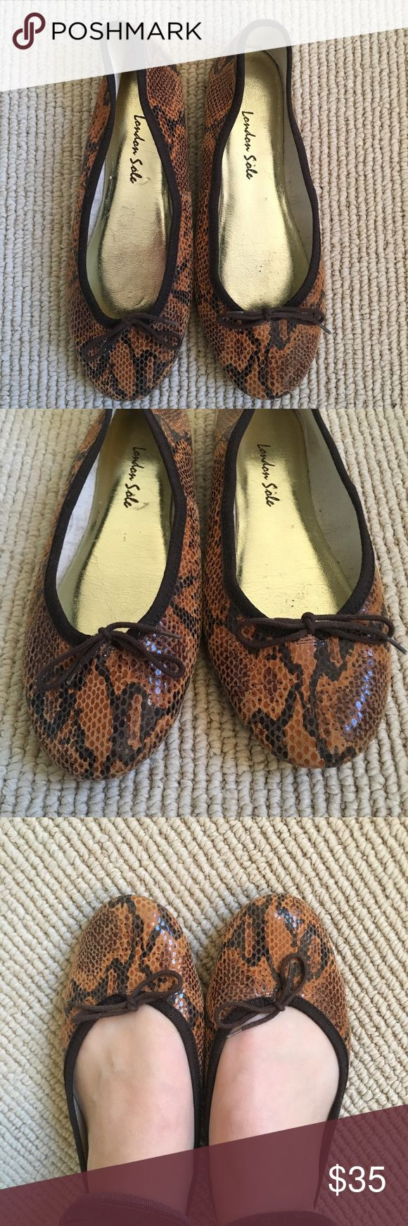 London Sole Animal Print Ballet Flats Cute animal print London Sole ballet flats are the perfect neutral. Very comfortable and in very good used condition. London Sole Shoes Flats & Loafers