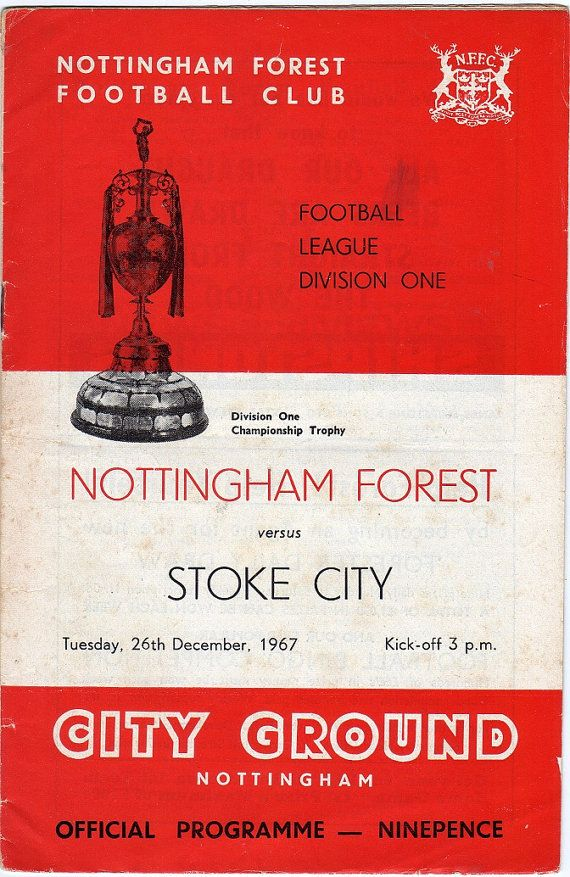 Vintage Football (soccer) Programme - Nottingham Forest v Stoke City, 1967/68 season #football #soccer #nottsforest