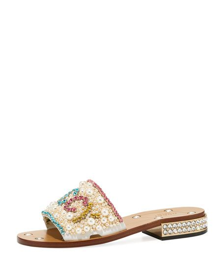 1319c37cb94b Lupe 20mm Guccy Jeweled Leather Slide by Gucci at Neiman Marcus