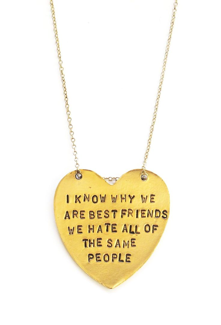 'I Know Why We Are Best Friends' Heart Shaped Necklace