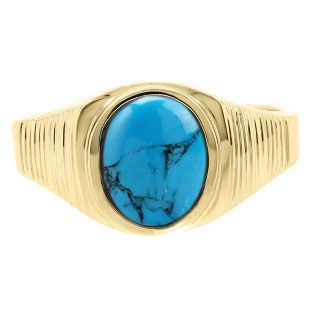 Men S Oval Cut Turquoise Gemstone Simple Yellow Gold Ring Available