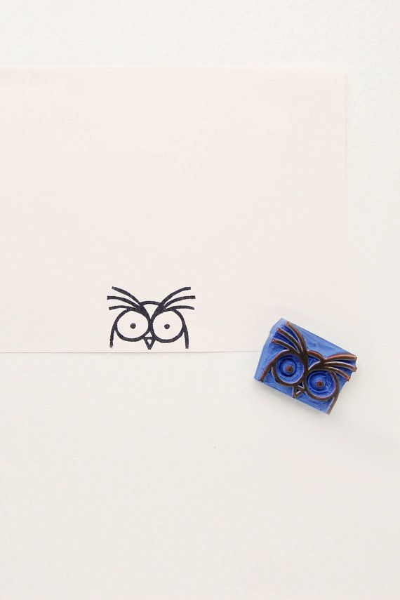 Agitated owl peek-a-boo stamp Non-mounted hand por WoodlandTale
