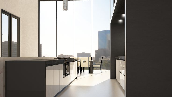 Penthouse - Kitchen View 1 / Interior Design / 3DS Max + Vray Rendering / By Terry Kuo
