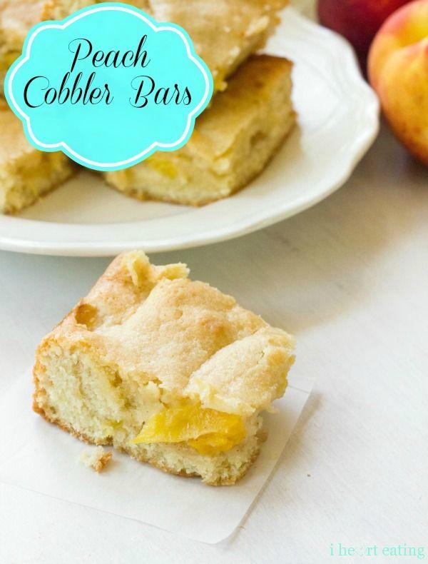 Peach Cobbler Bars | http://www.ihearteating.com | #peach #dessert #recipe