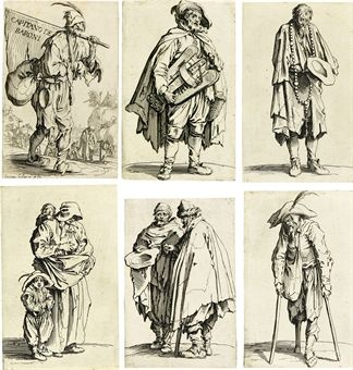 Jacques Callot- Les Gueux Etchings- poverty, rags- clothing reduced to essentials for beggars (1622-3)