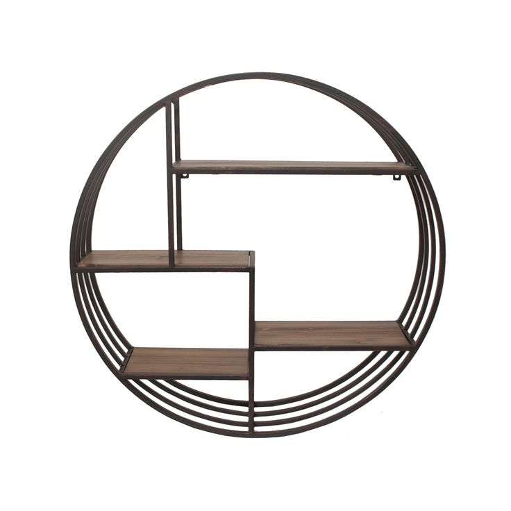 Have a little fun when you arrange your things on this handsome wood and metal shelf. The asymmetrical interplay of natural shelves and industrial circle walls gives you a unique space to express your ...  Find the Mixed Media Circle Shelf, as seen in the Industrial Chic Collection at http://dotandbo.com/collections/industrial-chic?utm_source=pinterest&utm_medium=organic&db_sku=89660