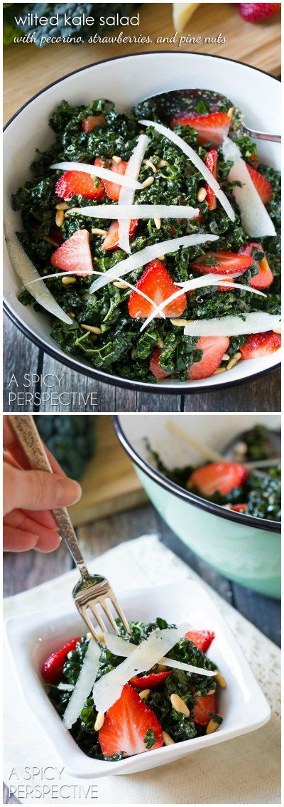 Wilted Kale Salad with Strawberries Pecorino and Pine Nuts