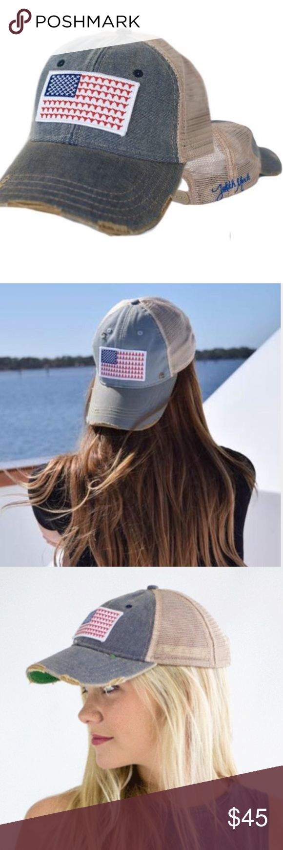 Judith March Flag Hat Steerhead Red Blue SnapBack Super cute for 4th of July!  Authentic brand new Judith March Hat with Steerhead fag patch.  Americana America USA Merica Fourth of July Red White & Blue SnapBack Hat Baseball Cap Trucker Hat ❤️ Judith March Accessories Hats