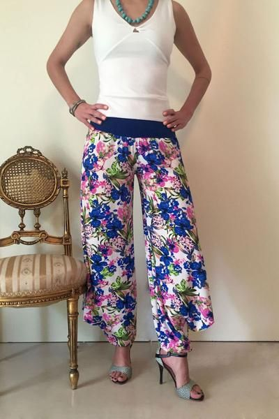 conDiva Blue Floral Georgette Tango Pants | Tango Clothing on Sale  #summer #womens #tangopants #babucha  https://condiva.com/collections/new-items/products/blue-floral-georgette-tango-pants
