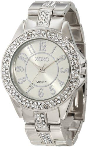 Xoxo women 39 s xo5463 rhinestone accent silver tone analog bracelet watch for clothing for Watches xoxo