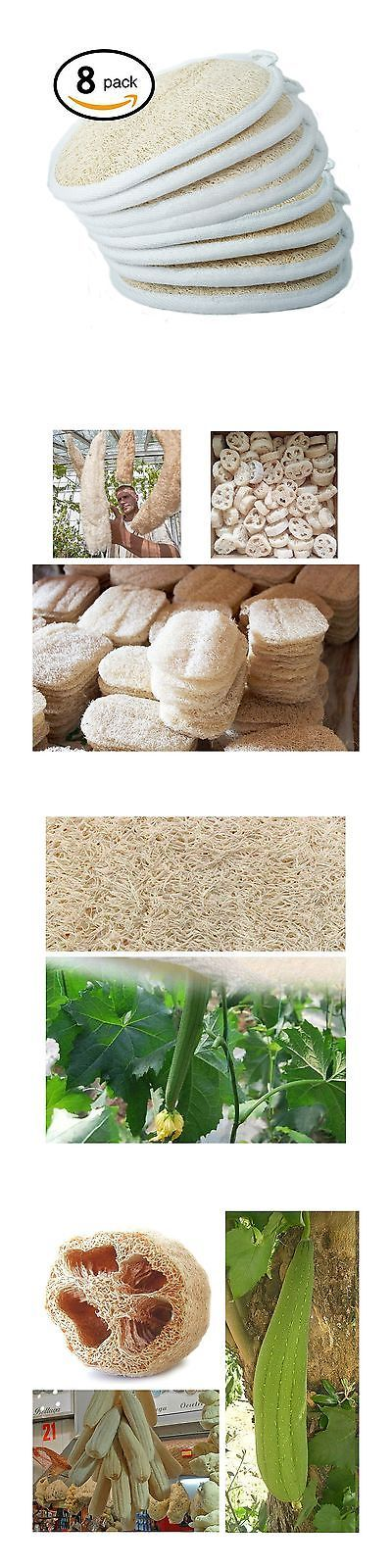 Bath Brushes and Sponges: Exfoliating Loofah Sponge Pads (Pack Of 8) - Large 4X6 - 100% Natural Luffa A... -> BUY IT NOW ONLY: $32.4 on eBay!
