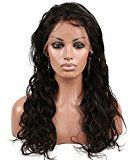 """VRwig Peruvian Virgin Human Hair Natural Big Wave Full Lace Front Wigs Unprocessed Black Color (24"""",Lace Front Wig)"""