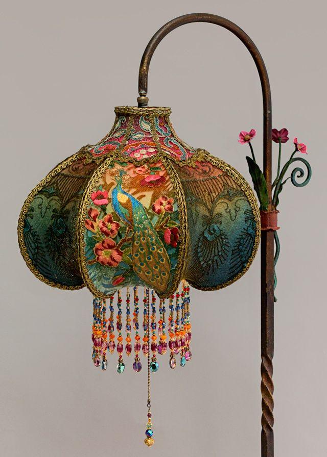 Art Nouveau Peacock Victorian Bridge Lamp and Shade  Bohemian Style  Antique lamps Victorian