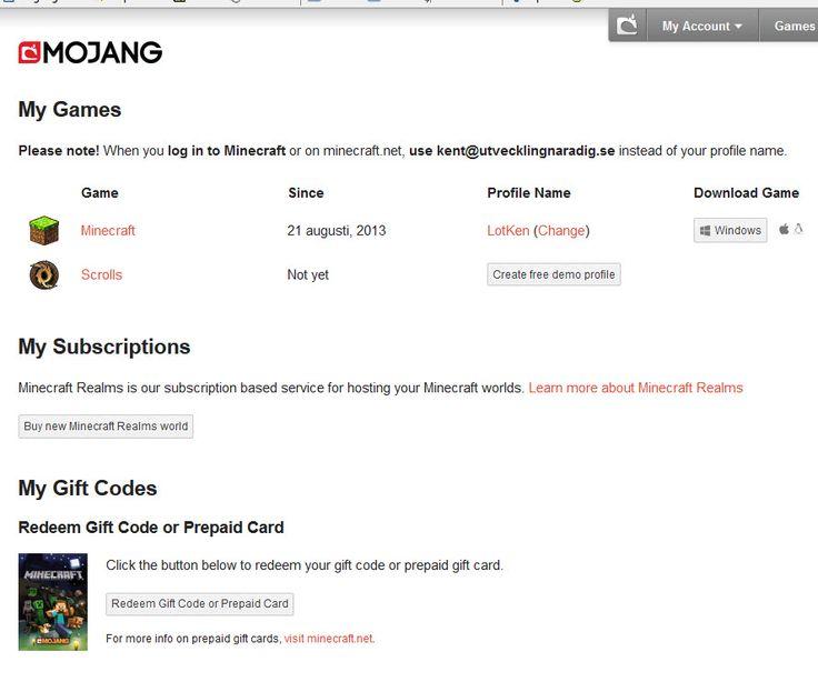 Mitt #Mojang, #Minecraft , konto: https://account.mojang.com/me .