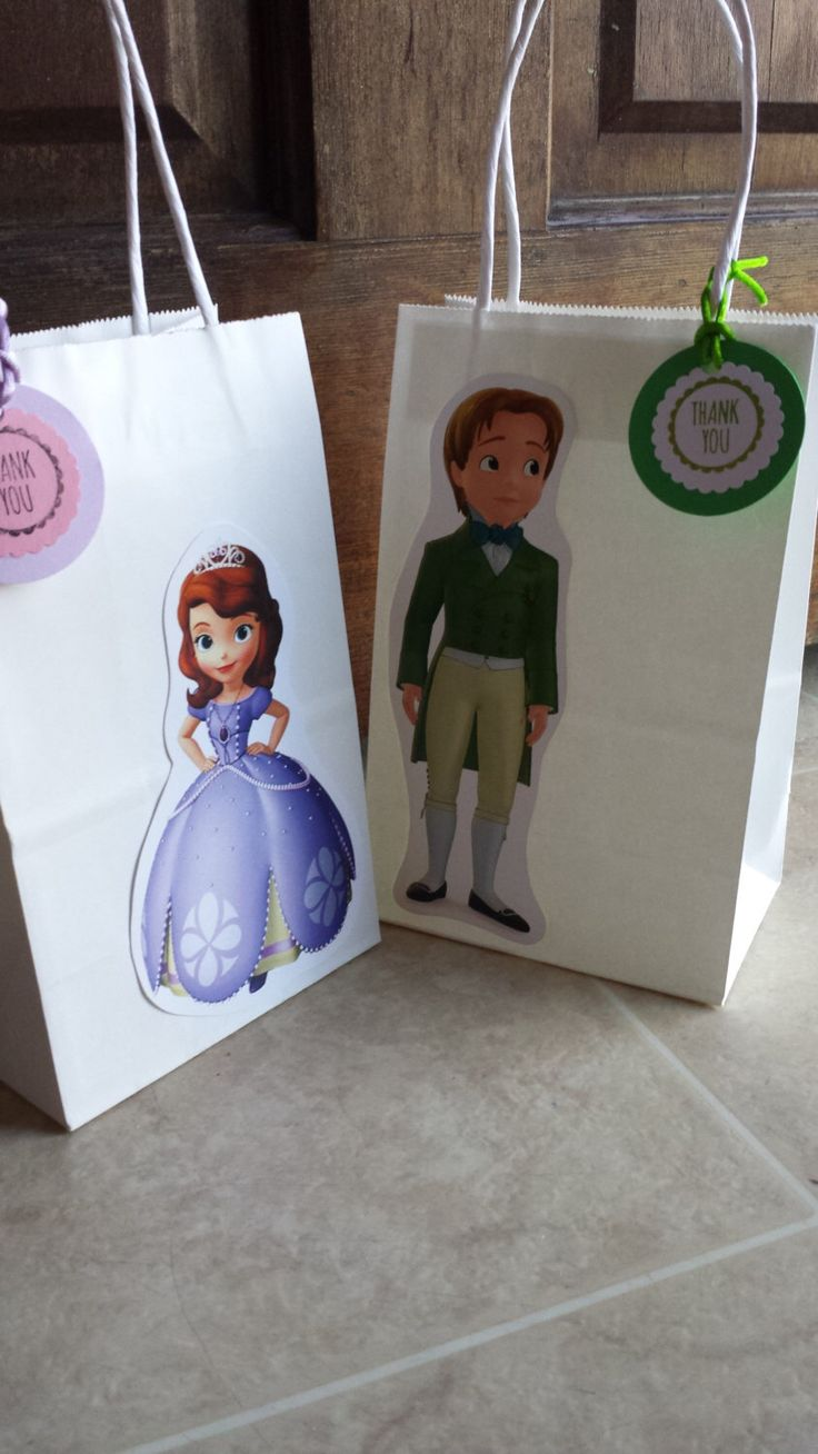 Sofia The First \ Prince James Favor Bags by JennexPartySupply on Etsy https://www.etsy.com/listing/201139302/sofia-the-first-prince-james-favor-bags