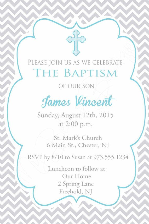 Chevron Baptism Invite Boys Baptism Invitation by MyBellasBowtique