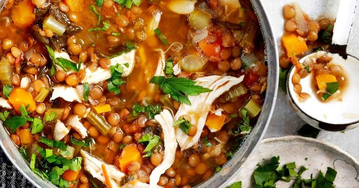 For a hearty soup full of goodness try this delicious chicken and lentil soup.