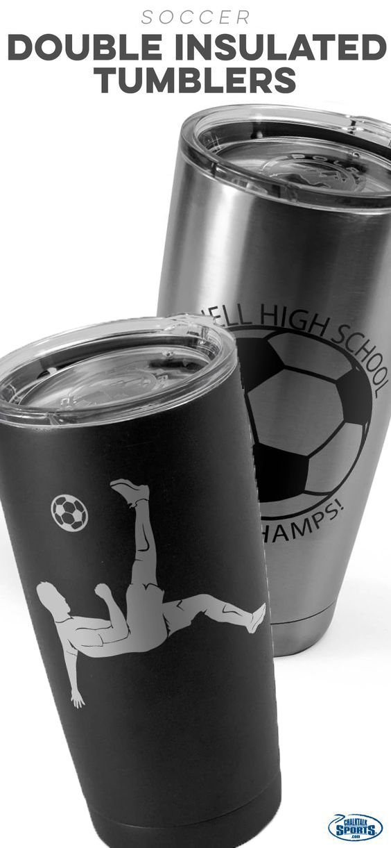New! Soccer tumblers!This hot and cold drink ware is perfect as a gift for any passionate soccer player or fan!