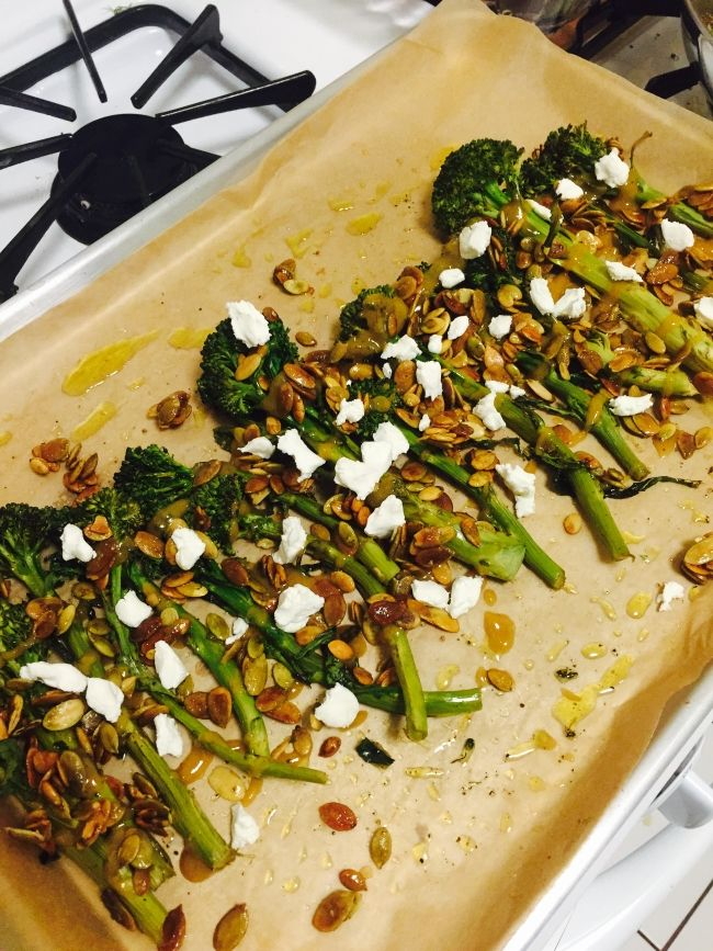 Roasted Broccolini w/ Maple Glazed Pumpkin Seeds & Goat Cheese- dish is just beyond. The sweetness and crunch of the maple-glazed pumpkin seeds and the tartness of the dressing & goat cheese add so much delicio