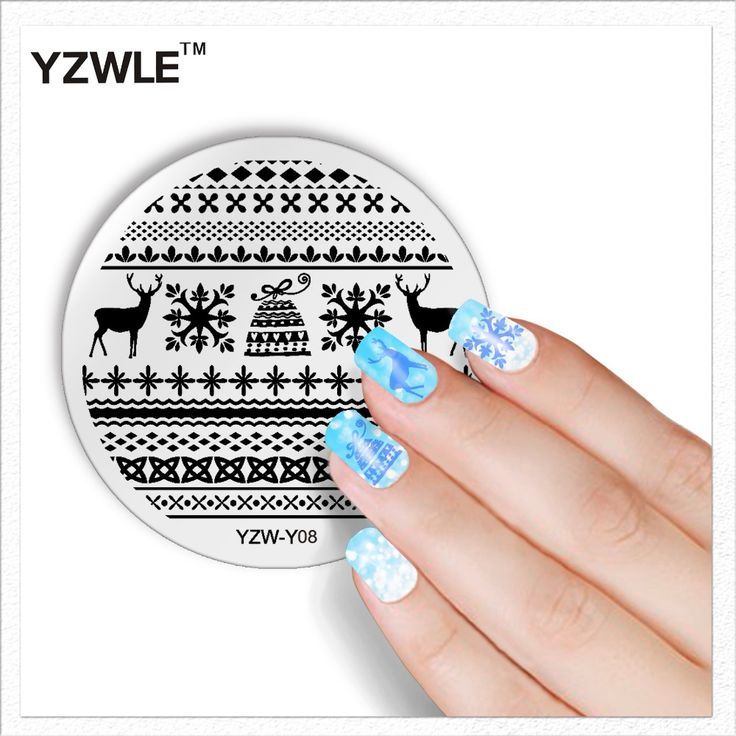 YZWLE 1 Лист Мода Круглый Рождественский Дизайн Nail Art Image Stamp Штамповка Плиты Маникюр Шаблон DIY Польский Трафарет Ногтей Инструмент #CLICK! #clothing, #shoes, #jewelry, #women, #men, #hats, #watches