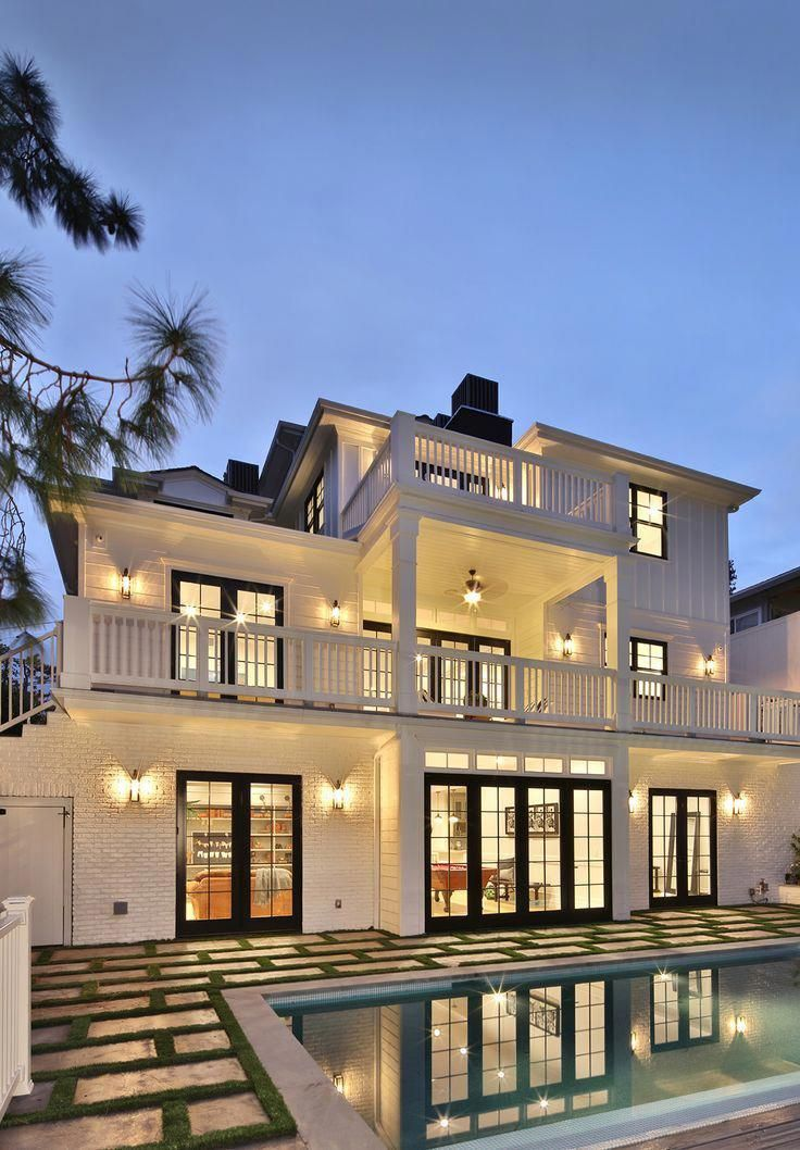 White House With Dark Black Roof Windows And Front Door Covered Back Porch Balcony House Luxury Homes Exterior Luxury Homes Dream Houses French Style Homes