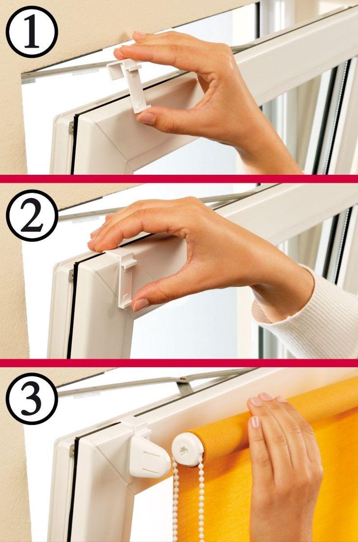 So einfach klannst Du die Gardinia Easyfix Rollos an Deinem Fenster befestigen. Die Verdunklungsrollos sind mit wenogen Handgriffen montiert ohne das Fenster zu beschädigen.