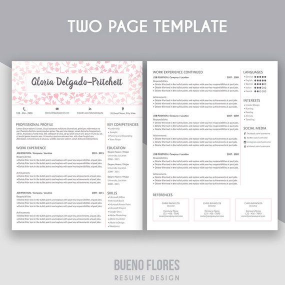 """Introducing """"Gloria Delgado-Pritchett"""" (pink version), an elegant feminine multipurpose design, which includes a two page resume/cv , referenc page and cover letter. By Bueno Flores Design"""