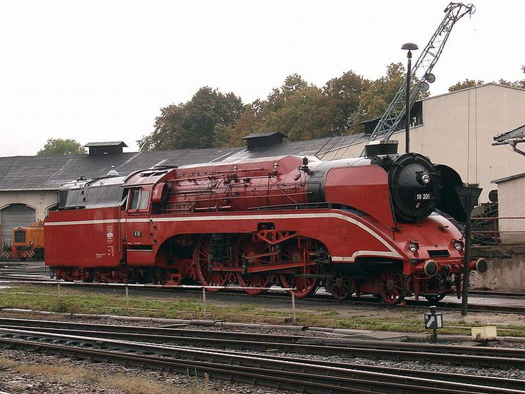 Locomotive 18 201 in red livery - DR 18 201 - Germany --- Since 1980 the locomotive has mainly been employed to haul heritage and special trains, often with a second tender, in order to be able to complete long-distance runs. . , the engine was repainted between 30 April 2002 and 10 July 2005 in a special red livery (RAL 3003, ruby red). Today she is once again painted in her traditional green colour (RAL 6020, chromium oxide green).